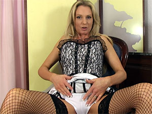 Super Milf Angel in corset and fishnet stockings