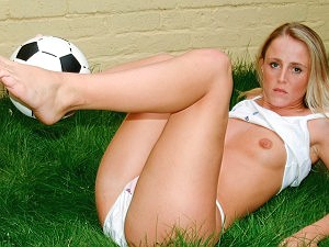 Cute blonde Maria loves playing with balls!