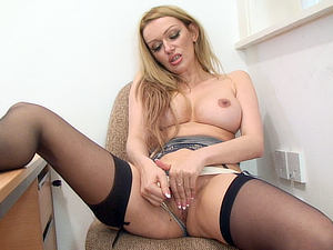 Amber Jayne gets caught wanking in the office!