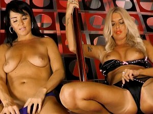 Charlene shows Raven 'how to ride the pole'